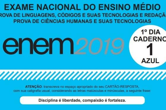 Caderno azul do Enem 2019