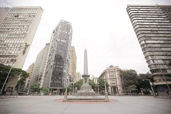 Isolamento social e a praça Sete, em Belo Horizonte