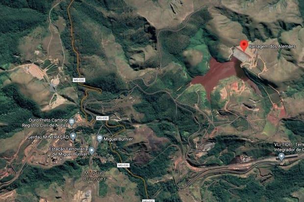 Vazamento de rejeito em barragem de Ouro Preto atinge cursos d'água
