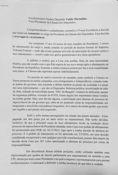 Carta de renúncia de Cunha à presidência da Câmara - 7.7.2016 - parte 1