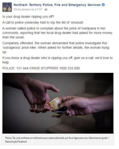 Polícia australiana publicou cado no Facebook