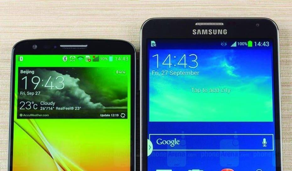 ff632d20365 Os celulares LG G2 (esq.), com tela de 5,2 polegadas, e o Galaxy Note 3,  com tela de 5,7 polegadas, são exemplos da tendência