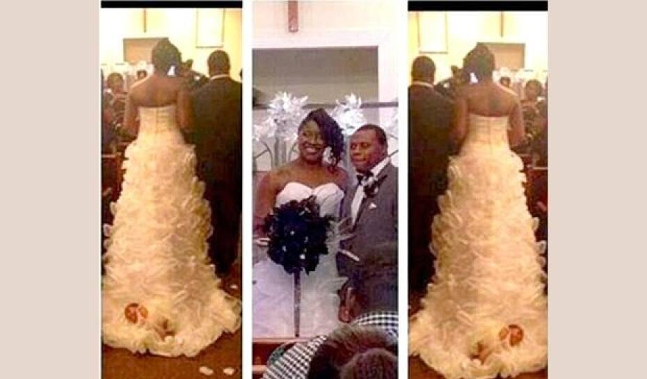 04ce6ffe2 Noiva entra na igreja com filha de um mês presa ao vestido