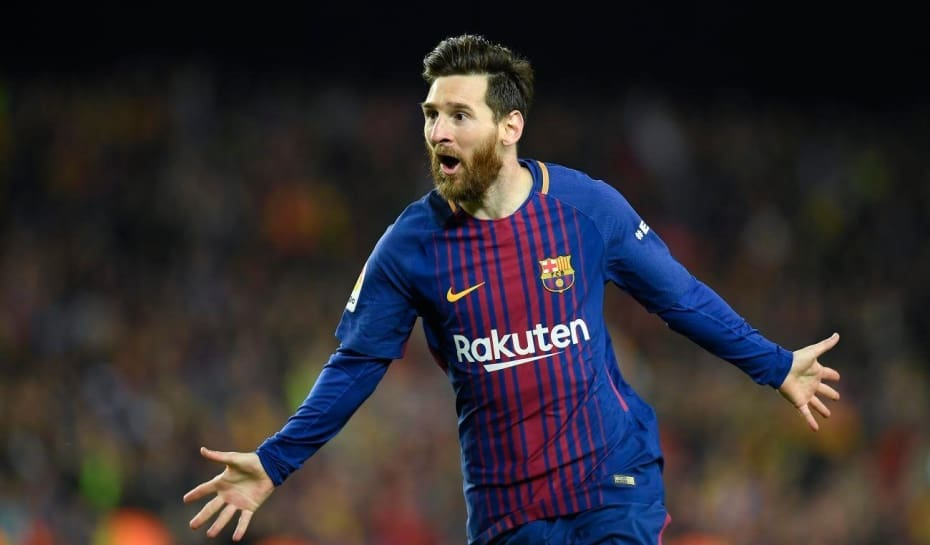 0dde589361eb8 Barcelona s Argentinian forward Lionel Messi celebrates after scoring a  goal during the Spanish league football match between FC Barcelona and Real  Madrid ...